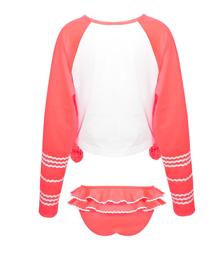 Cute little girls long sleeve rash vest