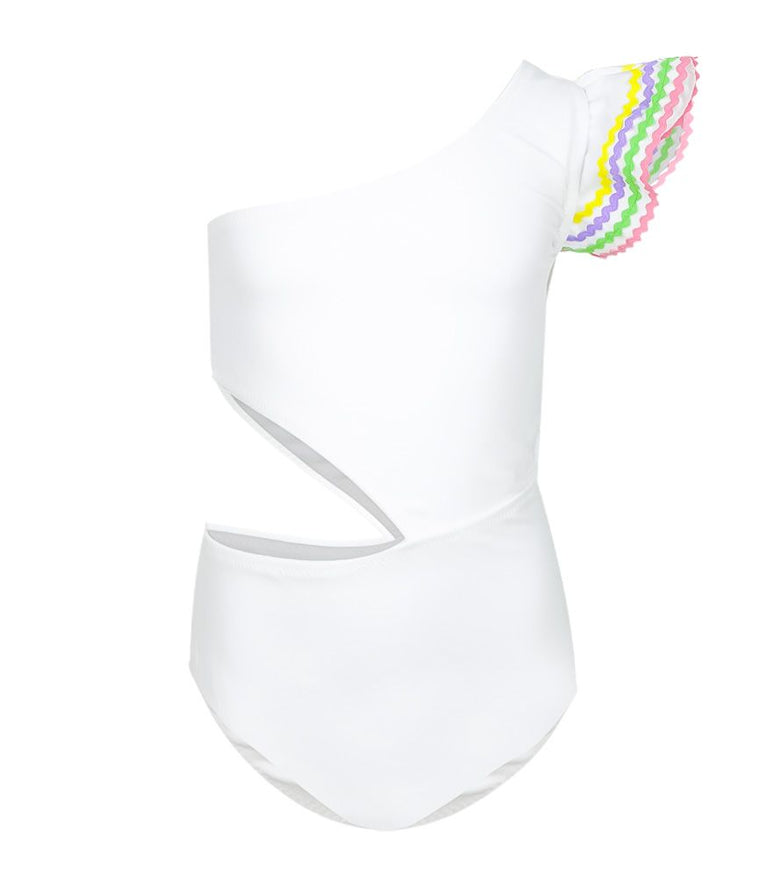Nessi Byrd Girls One Shoulder Swimsuit in White