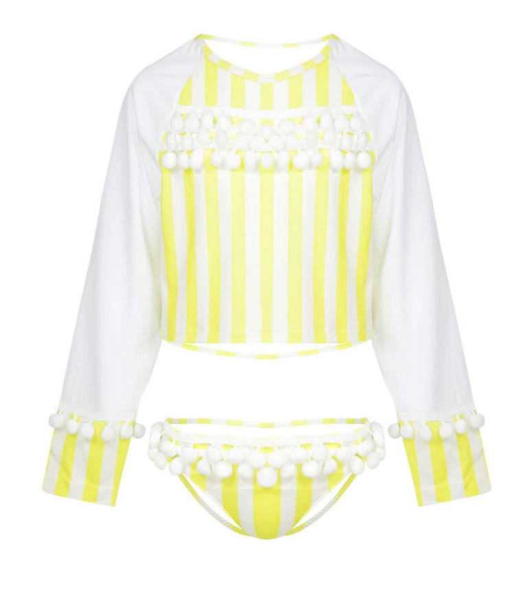 Girls Yellow Rash Vest Set