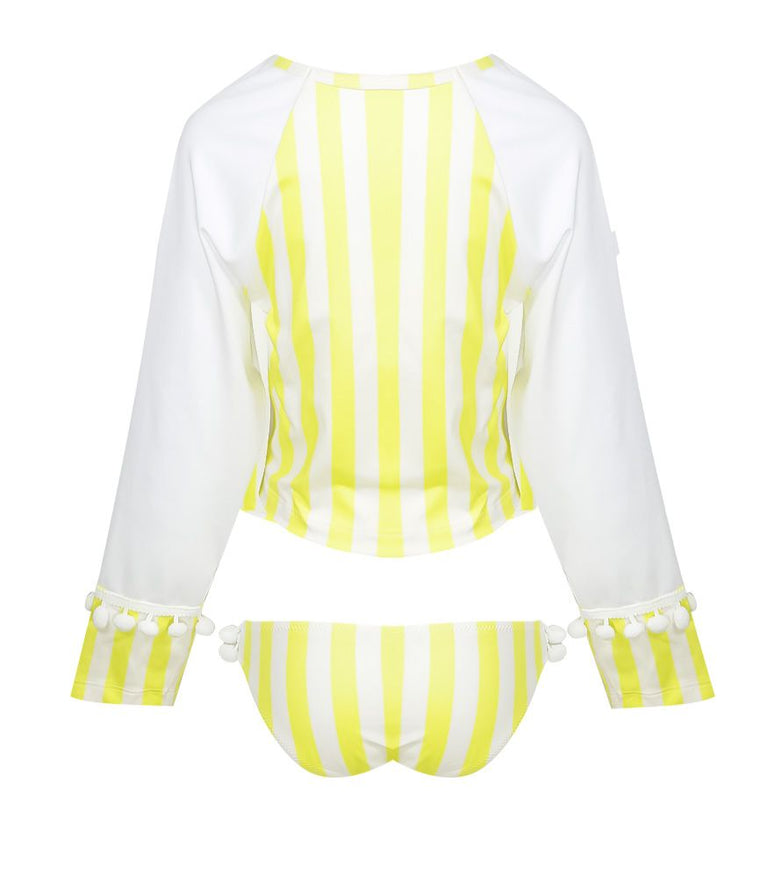 Girls rash vest and bottoms in yellow stripe