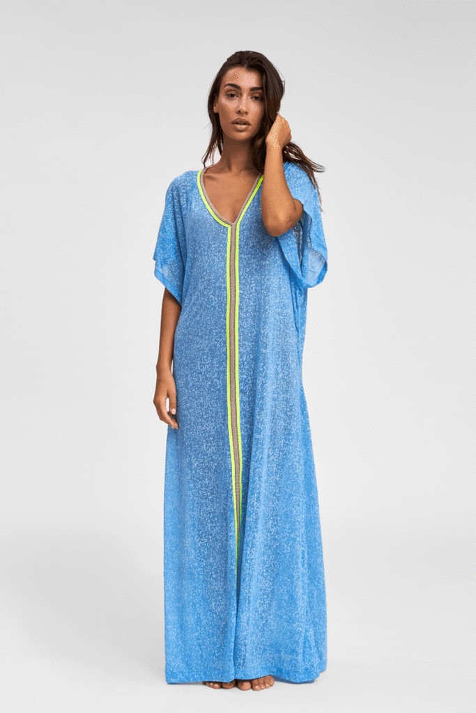 Blue V Neck Abaya Beach Cover Up