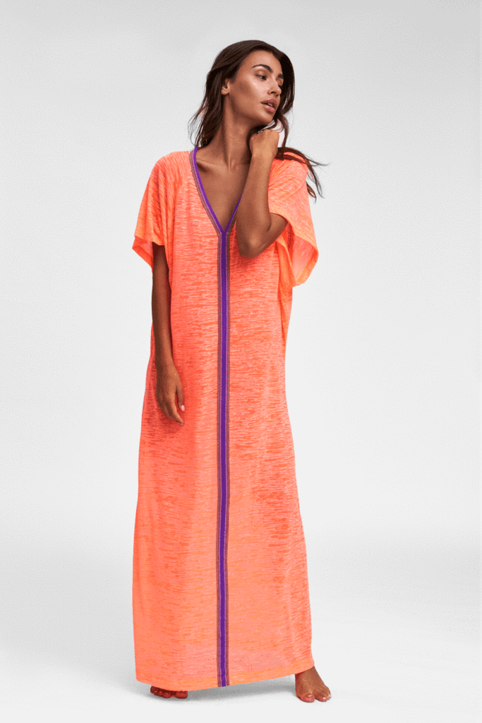 Coral Beach Abaya with Embroidered Trim