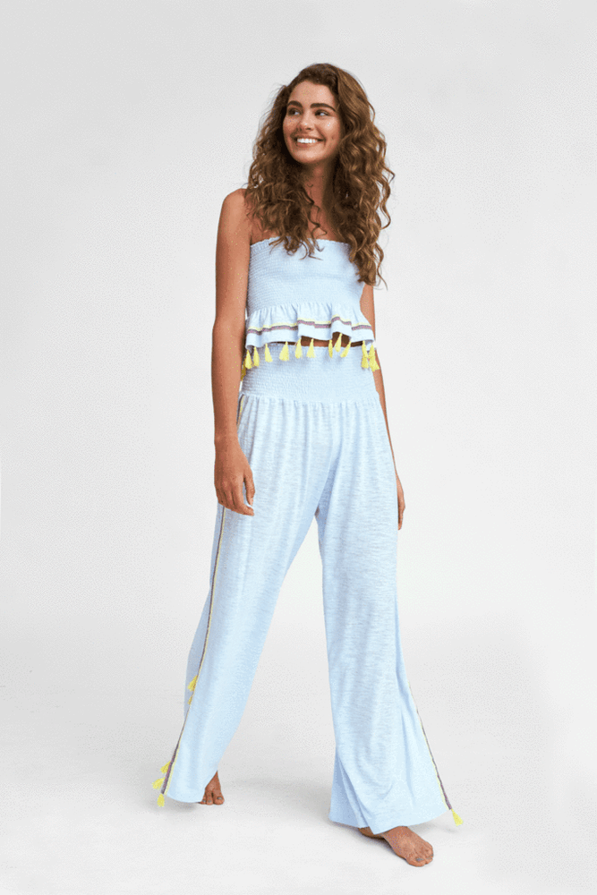 Jasmine Pants in Light Blue | Jasmine Beach Pants | Loose Fit Beach Pants