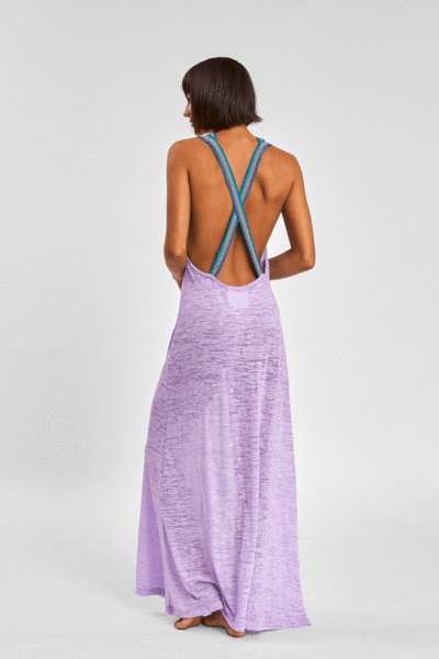 purple beach maxi dress with cross back straps