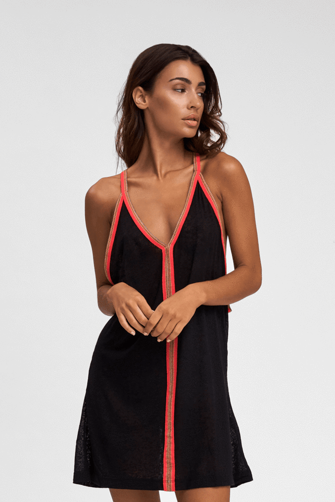 a sexy woman wearing a Sexy Beach Cover Up in Black