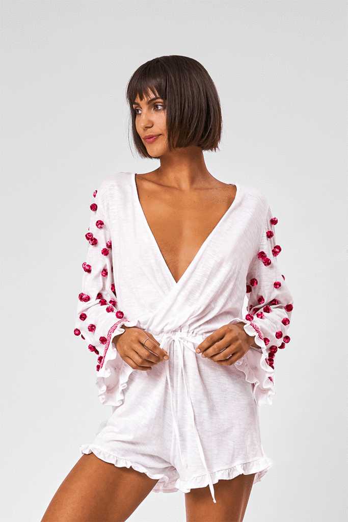 Short White Plunge Playsuit