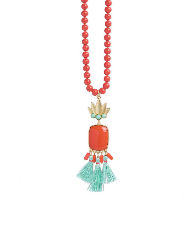Pineapple Tassel Necklace Coral