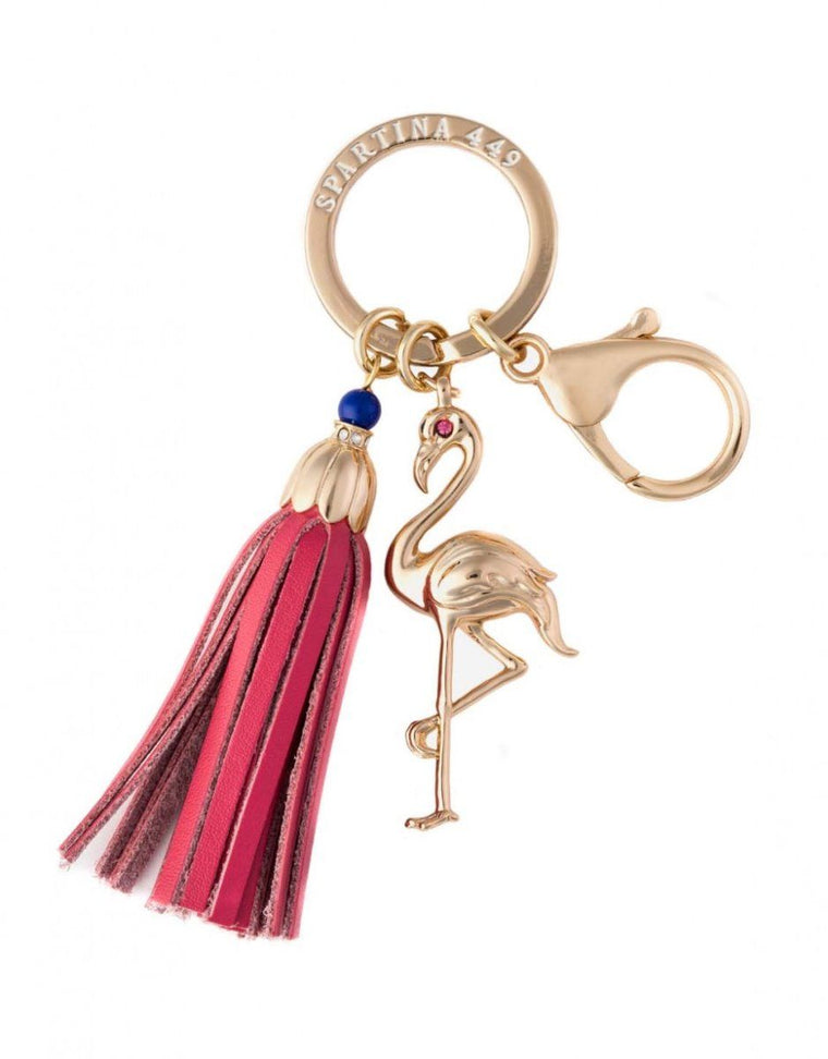 Spartina Bag Charm Keychain Flamingo