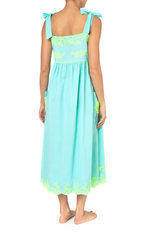 Tie Shoulder Dress With Lotus Emboidery Aqua/Neon Yellow