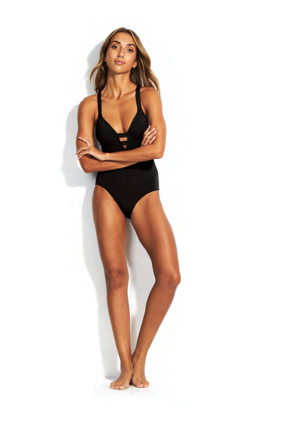 Black Active Long Fit Maillot