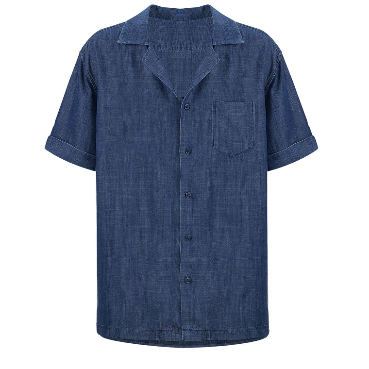 Mens Blue Tencel Shirt