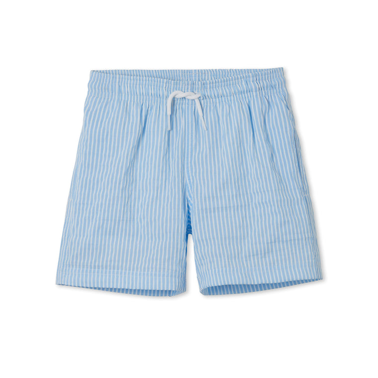 Blue and White Striped Swim Trunks for Boys