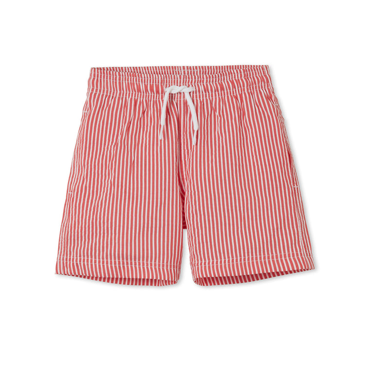 Boys Swim Shorts in Red and White Stripe