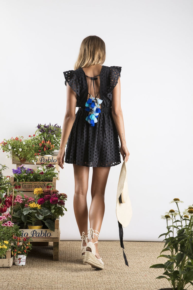 Sundress Sam Black/Multi Blue Short Dress