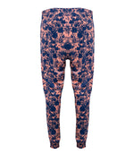 womens summer beach pants in an abstract blue & pink pattern