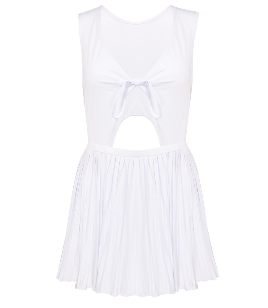 Pleated Cut Out Dress in White
