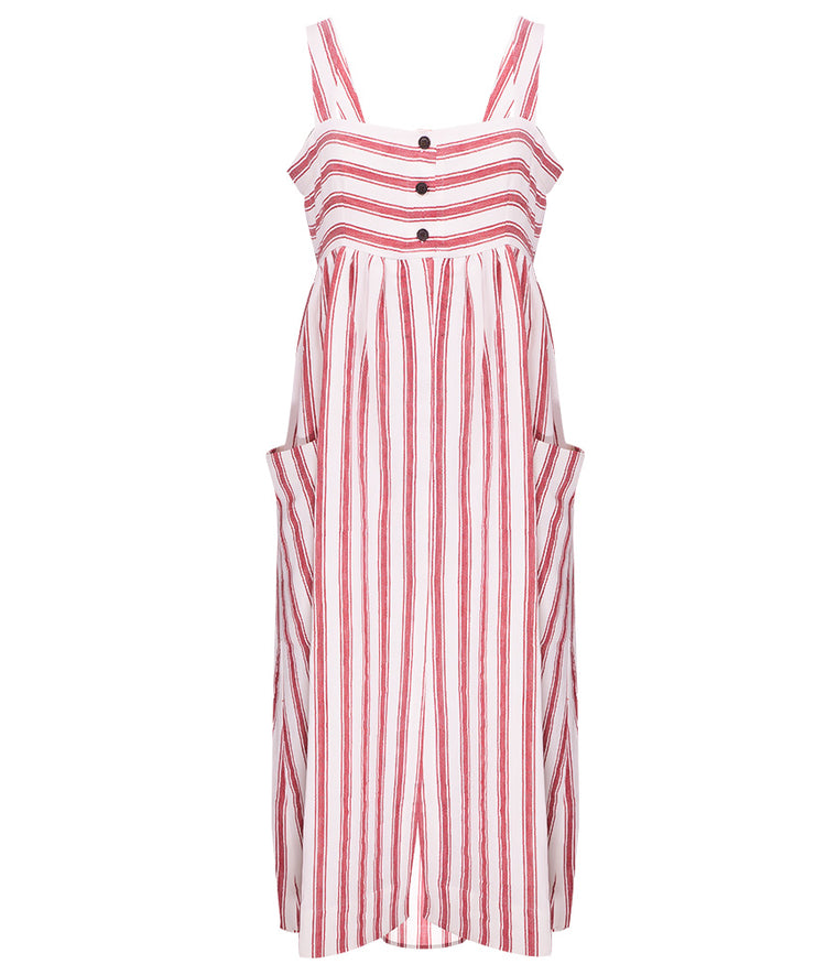 Elinor striped linen-blend dress