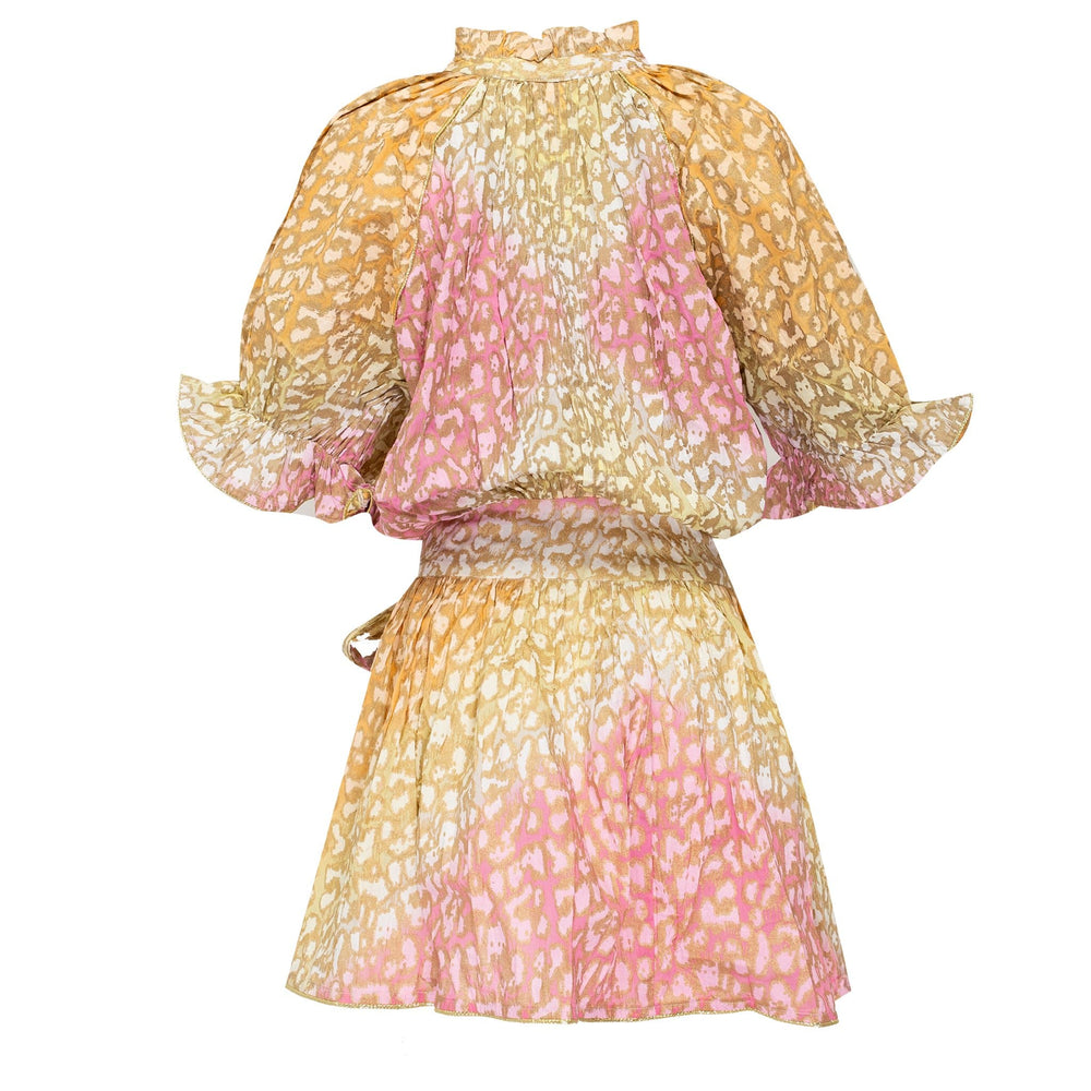 Tie dye Blouson Dress in Orange, Yellow and Pink Snow Leopard