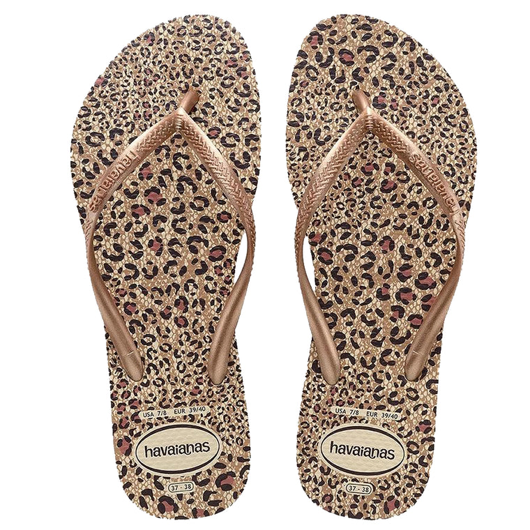 Womens Slim Animals Flip Flops Beige/Rose Gold