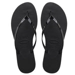Womens You Metallic Flip Flops Black