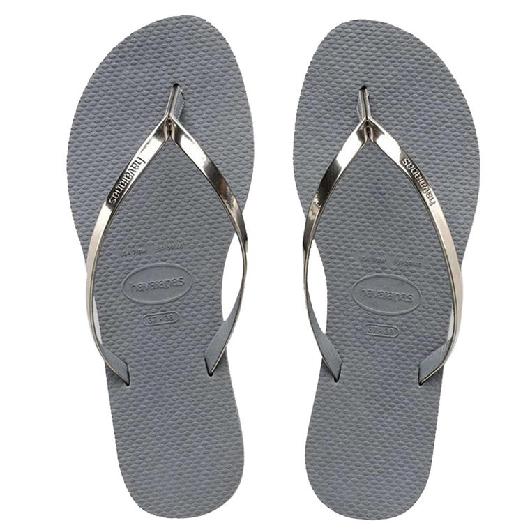 Womens You Metallic Flip Flops Steel Grey