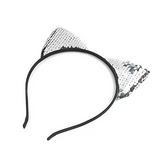 Cat Ears Silver/White Sequin Headband