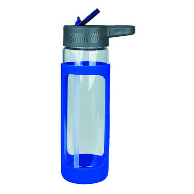Sleeve Glass Drink Bottle with Sipper - Blue
