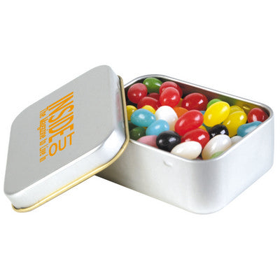 Assorted Colour Mini Jelly Beans in Silver Rectangular Tin