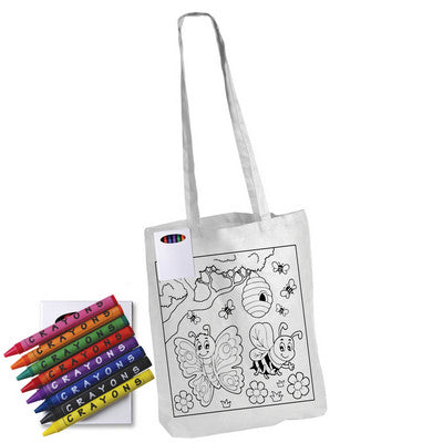 Colouring in Long Handle Cotton Tote Bag with Crayons