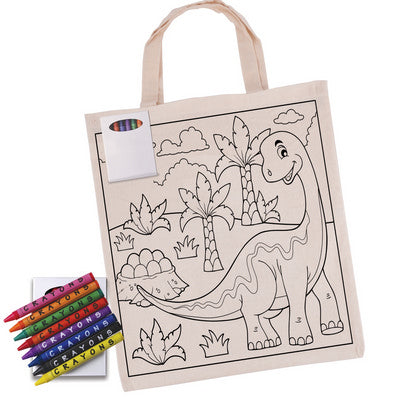 Colouring in Short Handle Calico Tote Bag with Crayons