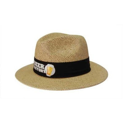 Natural Madrid Style String Straw Hat w. Material