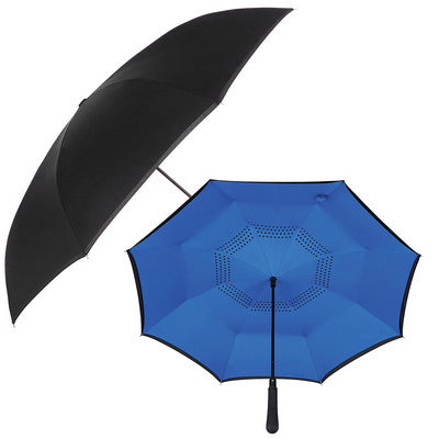 48 inch Auto Close Inversion Umbrella - Black