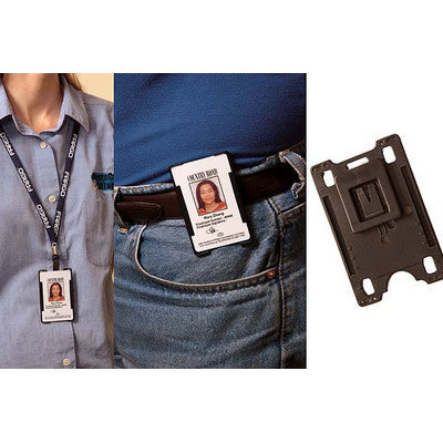 Rigid Black Card Holder with removable Swivel Clip