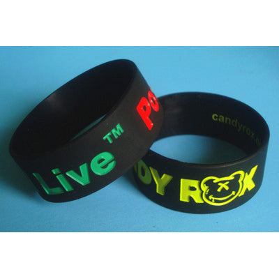Silicone Wristband 25mm Debossed and Ink Filled