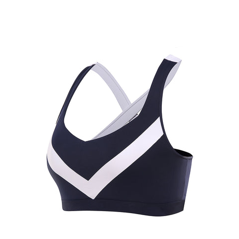 Criss Cross Color Block Yoga Sports Bra
