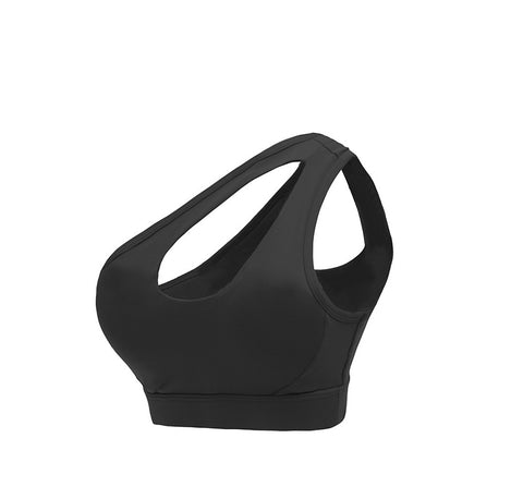 One Shoulder Hollow Back Sports Bra