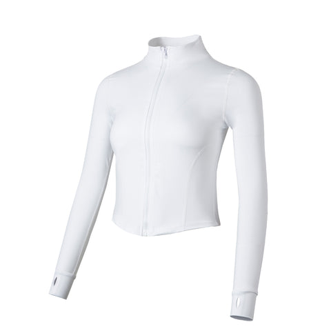 Elegant White Turtleneck Cropped Jacket