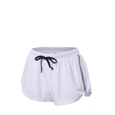 Zipper Low-Rise Marathon Drawcord Shorts