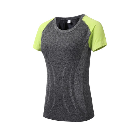 Crew Neck Color Block Sports Top T-shirt