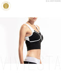 Color Block Sports Crop Top With Shelf Bra