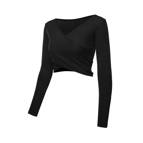 V-Neck Long Sleeve Sexy Yoga Crop Top