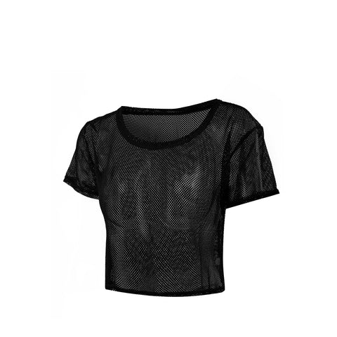 Sheer Mesh Relaxed Fit Sports Crop T-shirt