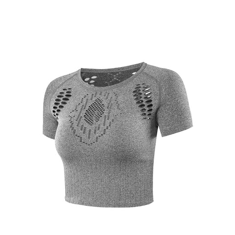 Ribbed Hollow Out Crewneck Sports Crop Top