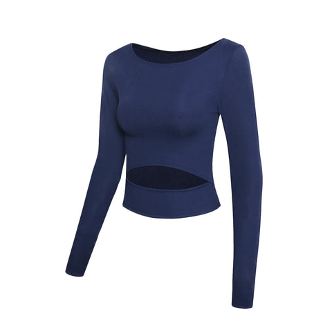 Front Cut Out Long Sleeve Yoga Crop Top