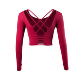 Long Sleeve Open Back Yoga Crop Top