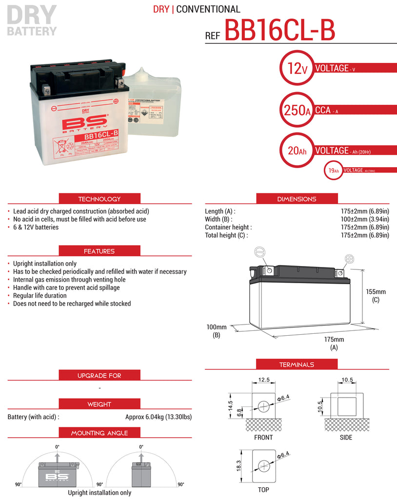 BS Conventional High Performance BB16CL-BS Battery with Acid Pack Datasheet