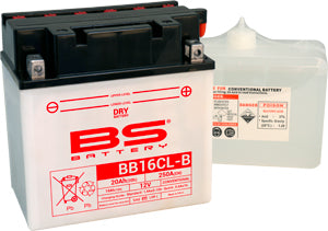 BS Conventional High Performance BB16CL-BS Battery with Acid Pack