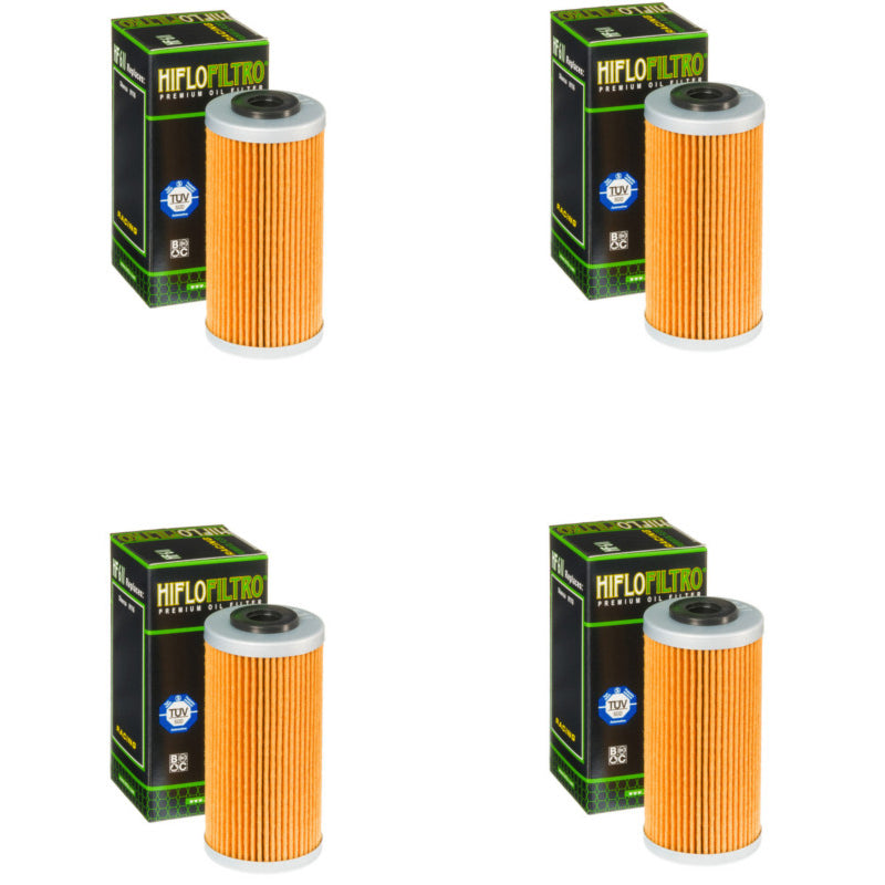 Bundle of 4 Hiflo Filtro HF611 Premium Oil Filters