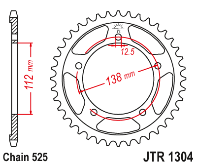 Honda CB650 F / FA 2014-2018 JTR1304 Black Edition Induction Hardened ZBK Motorcycle Sprocket 42 Teeth (JTR 1304.42)