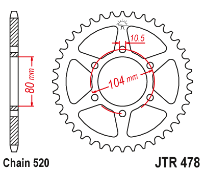JTR478 Black Edition Induction Hardened ZBK Motorcycle Sprocket 43 Teeth (JTR 478.43)